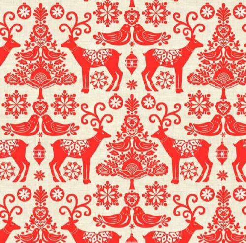 Makower Scandi Red Reindeer Christmas Fabric